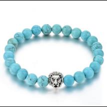 Kék howlit oroszlános ásványkarkötő-ezüst