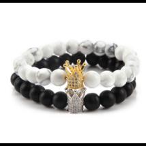 Howlit és matt onix páros ásványkarkötő, luxusminőségű cirkónia korona díszítéssel