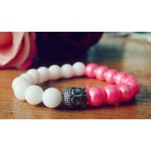 Rózsaszín -fehér buddha karkötő