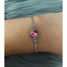 Rozsdamentes acél karkötő rózsaszín kristállyal