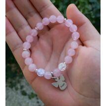 Rózsakvarc és hegyikristály ásványkarkötő Anya feliratos angyalka medállal