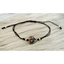 Csillogós szívecskés zsinórkarkötő- multicolor