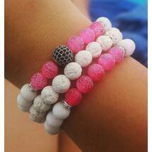 Rózsaszín-fehér ásványkarkötő szett