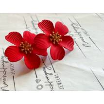 Piros virágos fülbevaló