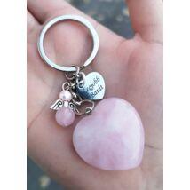Rózsakvarc ásványos kulcsékszer
