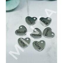 Egyedi neves szív alakú medálka (csak kulcstartóhoz/ékszerhez rendelhető)