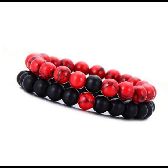 Piros howlit és matt onix páros ásványkarkötő