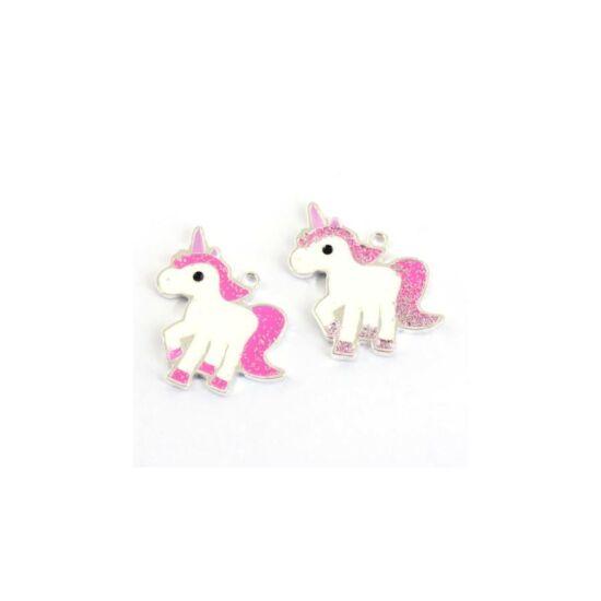Fehér-ezüst-pink unikornis medál