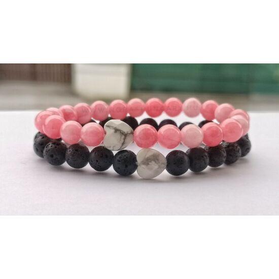 Lávakő és rózsaszín jade páros ásványkarkötő szett