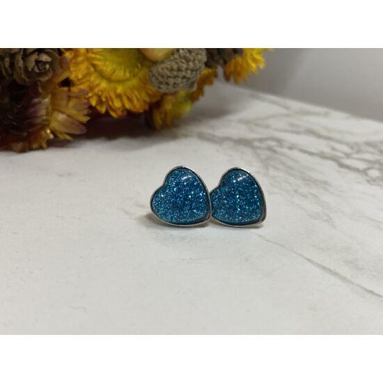 Kék csillogós szív alakú fülbevaló