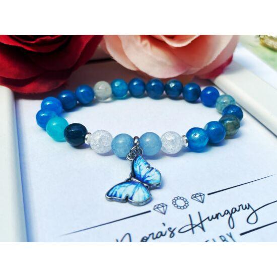 Kék pillangós achát,hegyikristály akvamarin ásványkarkötő