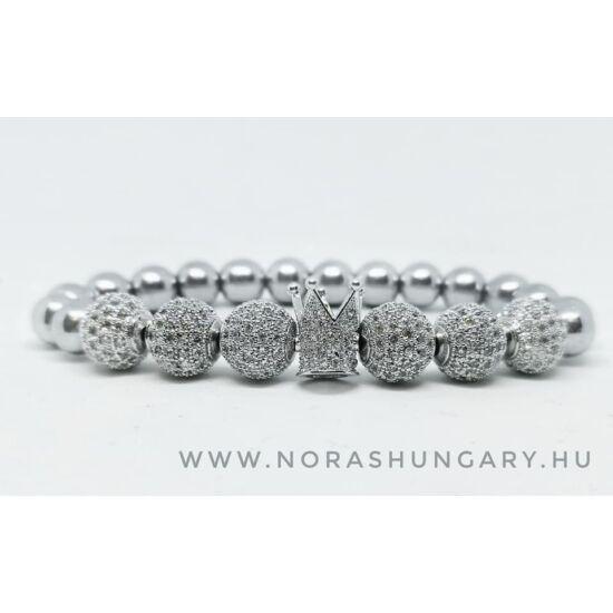 Extra csillogás -cirkónai díszes karkötő ezüst hematit ásványkővel