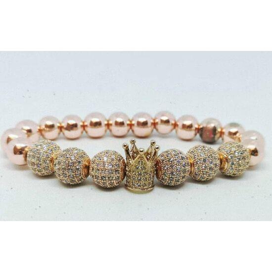 Extra csillogás -cirkónai díszes karkötő rosegold hematit ásványkővel