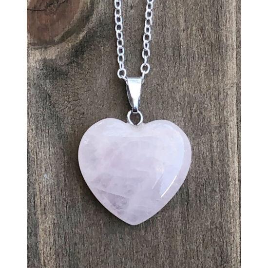Szív alakú rózsakvarc ásvány medálos nyaklánc
