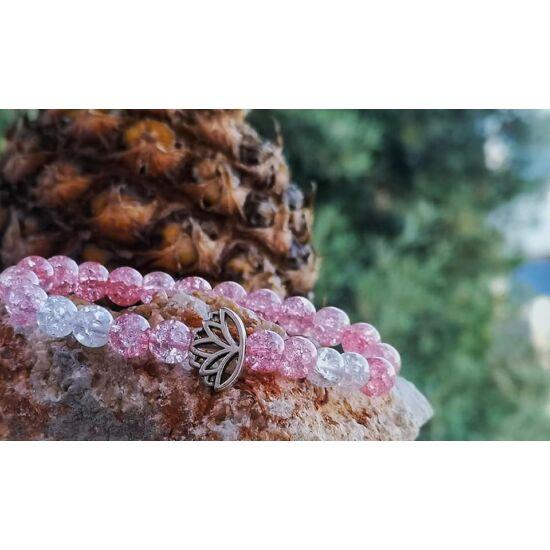 Rózsaszín lótusz karkötő