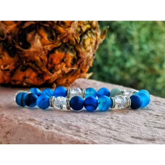 Matt kék achát ásványkarkötő