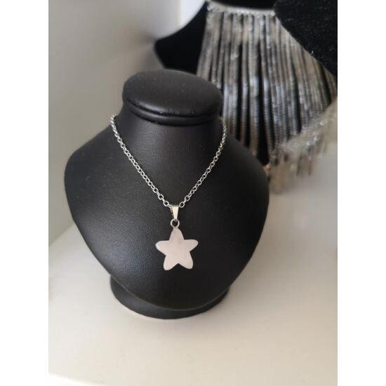 Csillag alakú rózsakvarc ásvány nyaklánc