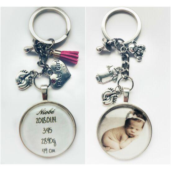 Babaköszöntő kulcstartó -fényképpel vagy születési adatokkal