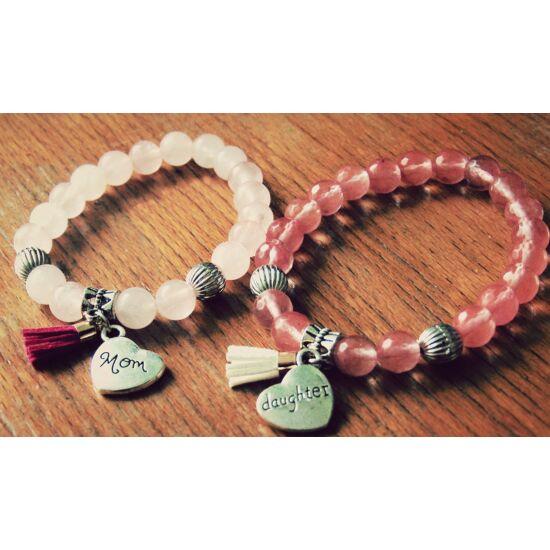 Rózsakvarc-cseresznyekvarc anya-lánya karkötő szett