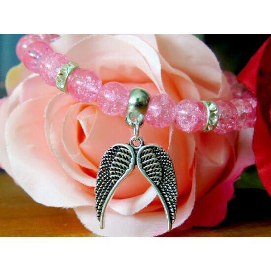 Rózsaszín angyalszárnyas karkötő