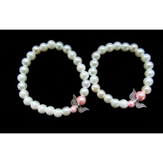 Anya-lánya angyalkás karkötőszett- rózsaszín-fehér